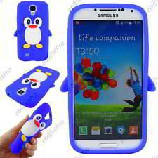Coque Housse Etui TPU Souple Motif Pingouin Bleu Samsung Galaxy S4 I9500 I9505