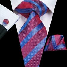 USA Red Blue Striped Mens Tie Woven Silk Necktie Set Hanky Wedding Formal Party