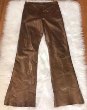 CACHE Women Bronze Metal Leather Pants Size 8