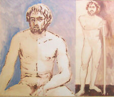 Nude Male Painting MID CENTURY Portrait California 1950s Naked Man GLASS CRACKED