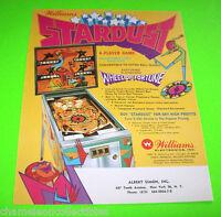 STARDUST By WILLIAMS 1971 ORIGINAL NOS PINBALL MACHINE PROMO SALES FLYER
