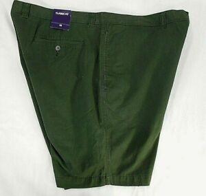 "CLUB ROOM big mens dark green Classic Fit khaki 9"" shorts size 42 NWT"