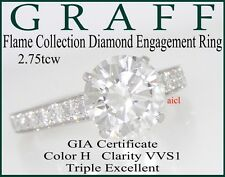 GRAFF FLAME PLAT DIAMOND SOLITAIRE ENGAGEMENT RING  2.75tcw GIA H VVS1 TRIPLE EX