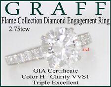 GRAFF FLAME PLAT DIAMOND SOLITAIRE ENGAGEMENT RING  2.75tcw GIA H VVS1 TRIPLE EX