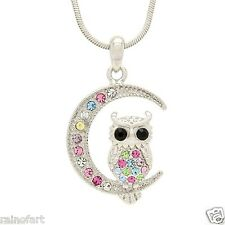 Wisdom Symbol Multi Color Pendant Gift Owl Moon Made With Swarovski Crystal Wise