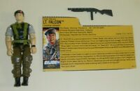 1988 GI Joe Lt Falcon v2 Night Force Green Beret Figure w/ File Card