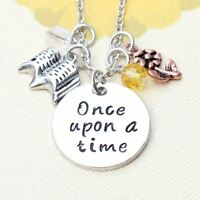 *UK* 925 SILVER PLT 'ONCE UPON A TIME' BEAUTY AND THE BEAST ROSE BOOK NECKLACE