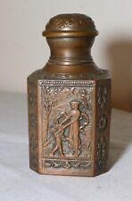 antique ornate 1800's plated copper figural tea caddy tobacco jar box humidor