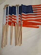"Lot Of 20 New American Flags 8""X5.5"" 12"" wooden pole"