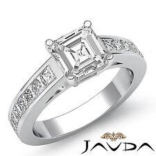 Asscher Corte Diamante Clásico Exquisito Anillo de Compromiso GIA i SI1 Platino