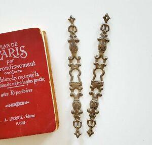 Scroll leaf 2 antique vertical escutcheon Silver Salvage furniture hardware 6.93