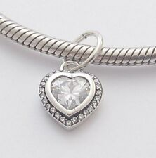 SPARKLING HEART CHARM Bead Sterling Silver.925 For European Bracelets 791
