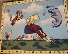 """Disney Winnie The Pooh Leapfrog Classic Tapestry Throw Blanket Woven ~ 48""""x60"""""""