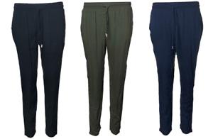 Womens Tapered Leg Tie Belt Elastic Waist Pull On Trouser Bottoms Ex High Street