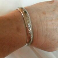 WHITING AND DAVIS VINTAGE SILVER HINGED CUFF-EXCELLENT CONDITION