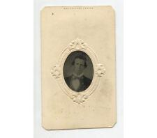Tintype Portrait Man W/ Dark Hair + Light Colored Eyes, 1/16 Plate, Period Mat