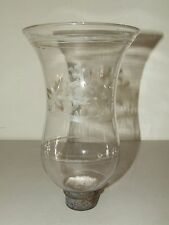 Antique 1800's Hand Blown Etched Lion & Flowers Glass Hurricane Lamp Shade