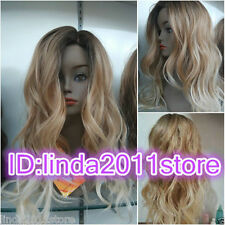 Ladies Front lace Wigs Curly Long Wavy hair brown Blonde mixed wig + wig cap