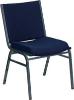 Flash Furniture HERCULES Series Heavy Duty Navy Blue Dot Fabric Stack Chair w...