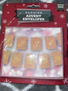 Hanging Christmas Advent Envelopes / Garland - NEW with pegs. Or Treasure Hunt