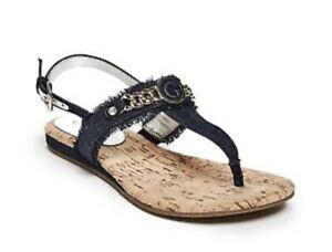 GUESS - 'Janesa' Denim T-Strap Sandals - Size 8/39 - Worn Twice - Like New
