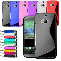 For HTC One M8 Grip Wave S Line Gel Skin Case Soft Phone Cover + Screen + Stylus