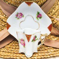 Vintage Occupied Japan Demitasse Cup & Saucer Set Scalloped Diamond Shaped