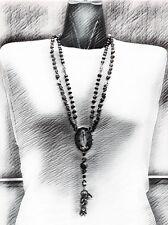 Rosario doble de la Santa Muerte de piedra Natural y Calaveras hecho a mano