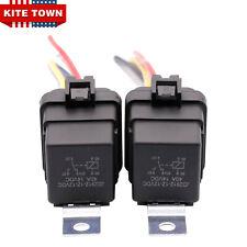 2x 12V 40A Waterproof 5Pin SPDT Relay & AWG Wires Socket Kit Automotive DIY