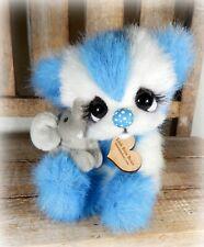 Ooak  handmade blue and white teddy bear by Little Bittie Bears
