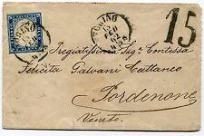 Sardinia sc# 12a blue 20c used on cover 1862 Torino Sardenane Venito