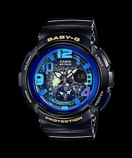 BGA-190GL-1B Black Casio Baby-G Ladies Watches Analog Digital Neon Resin New