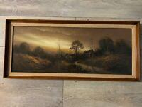 """Antique Original Pastel Chalk Painting Landscape, Framed, 29"""" x 11 1/4"""" (Image)"""