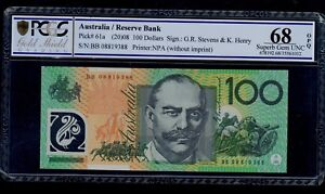 AUSTRALIA 100 DOLLARS ( 2008 )  PICK  # 61a PCGS 68 SUPERB GEM UNC OPQ.