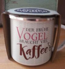 "la vida Emaillebecher "" Der frühe Vogel ""  Kaffee  Camping Outdoor Tasse Becher"