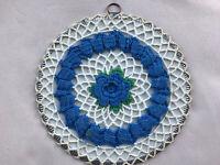 Antique Vtg. 1950's Crochet Doily Hot Pad Pot Holder Blue & White Wallhanging