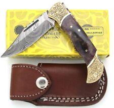 Wild Turkey Handmade Damascus Steel Collection Engraved Brass Folding Knife