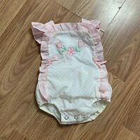 Vintage Baby Girl Romper Bubble Photography 3-6months Pink Floral