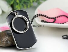 Men's Army Military Black Ring Dog Tag Pendant Necklace w Bead Chain Jewelry