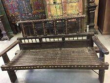 Indian Antique Iron Brass Old World Patina Ox Cart Farm Day Bed Bench Teak Sofa