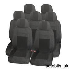 FULL SET PREMIUM BLACK 7X FABRIC SEAT COVERS FOR 7 SEATER VAN SUV BUS CAR