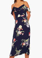 Warehouse Iris Floral Midi Dress Navy BNWT Size UK 12