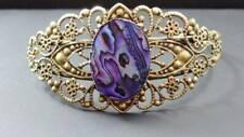 Abalone Baroque Style Brass Filigree Bangle Bracelet