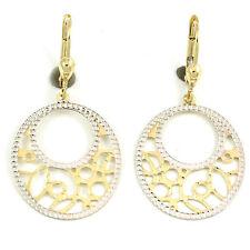 10k White/Yellow Gold Circular Drop earrings(new, 2.4g) #3394