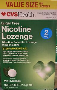 CVS Health Sugar Free Nicotine Lozenge 2 mg Mint Lozenge 168. Exp 04/21