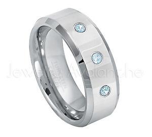 0.21ctw Topaz 3-Stone Ring, November Birthstone Ring, Tungsten Wedding Band #009