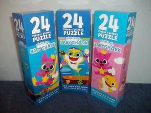 BABY SHARK - 3 x 24 PIECE JIGSAW PUZZLES - NEW BUNDLE