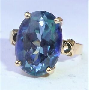 Large 9ct Gold 6.00ct Neptune Topaz Ring, Size N1/2