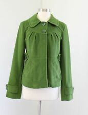 Tulle Womens Green Fleece A Line Jacket Single Breasted Peacoat Size S