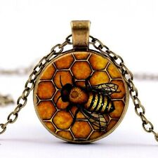 Vintage Gold and Black realistic BUMBLE BEE Honeycomb Cabachon Necklace Pendant